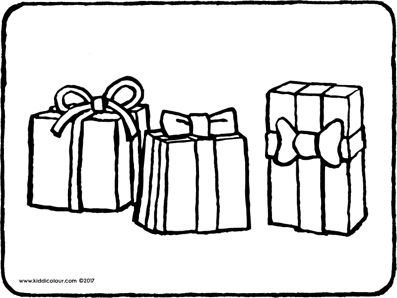 three presents colouring page page drawing picture 01k
