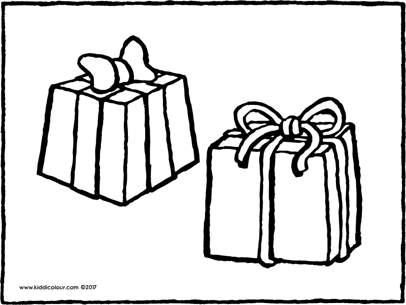 two presents colouring page page drawing picture 01k