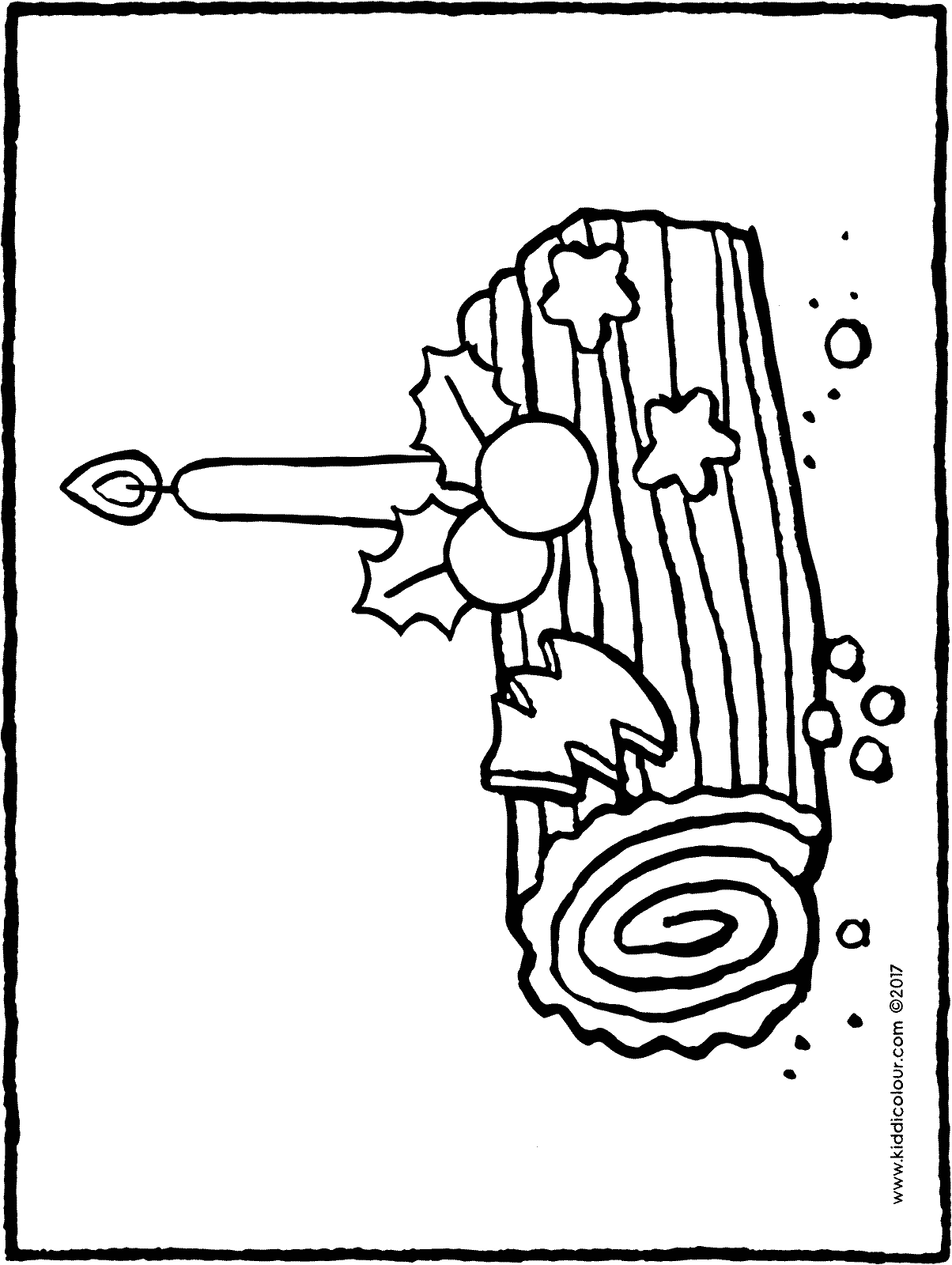 yule log colouring page page drawing picture 01H