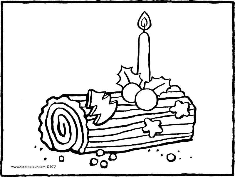 yule log colouring page page drawing picture 01k