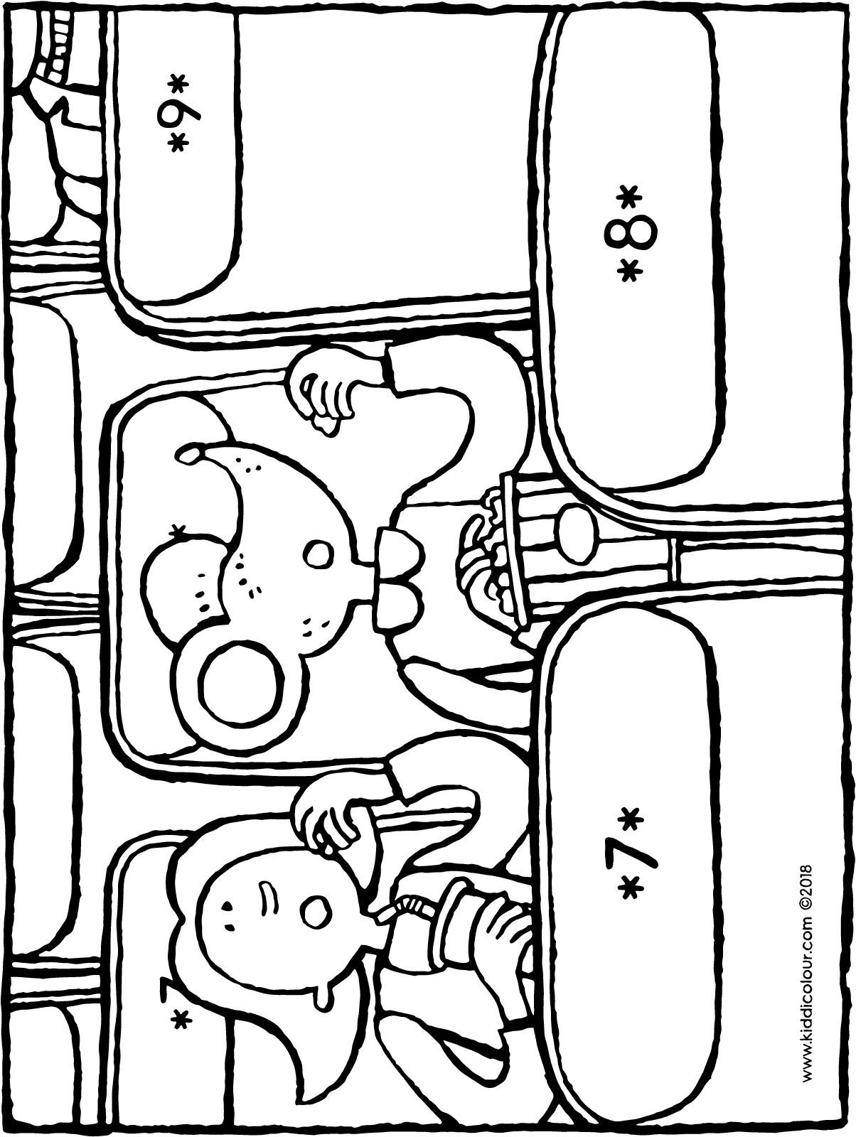 Emma and Thomas eat popcorn at the cinema colouring page drawing picture 01H