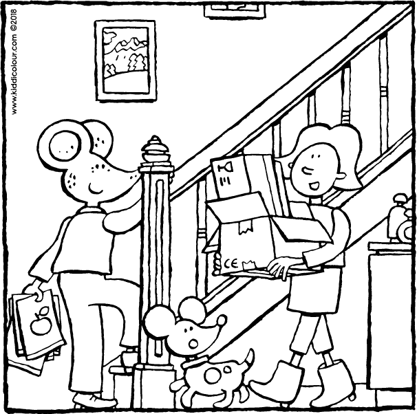 Emma and Thomas in the hallway colouring page drawing picture 01k