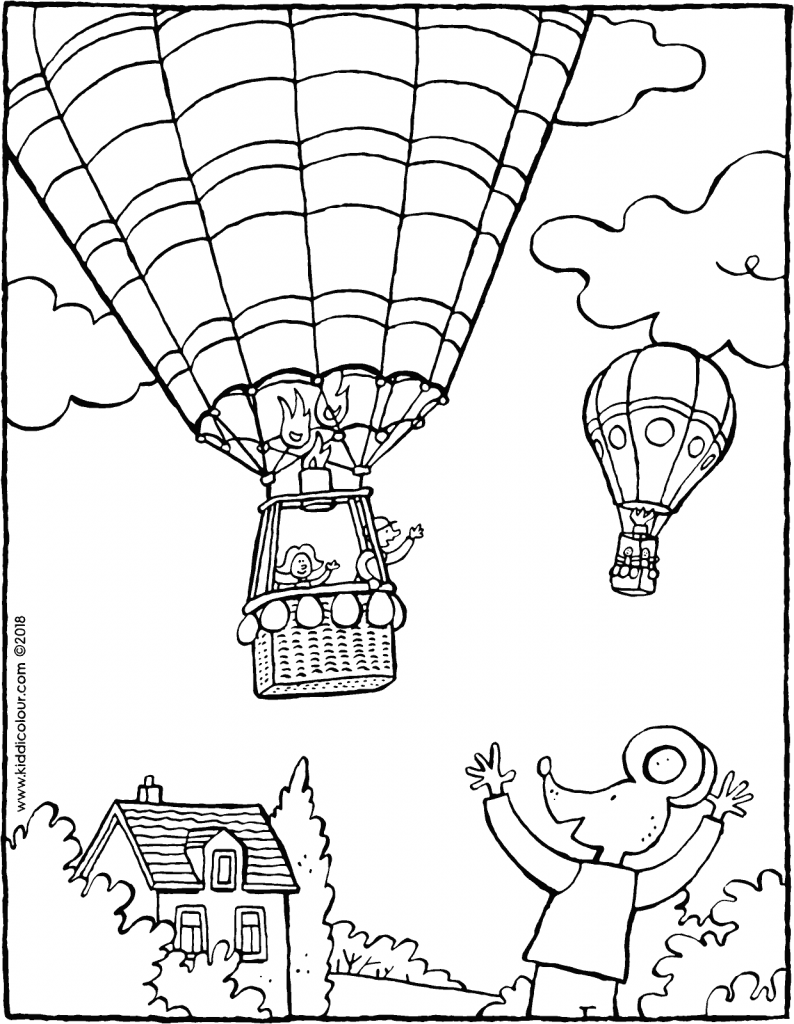 Thomas waves to a hot air balloon colouring page drawing picture 01V