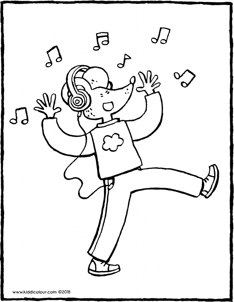 Thomas with headphones colouring page drawing picture 01V