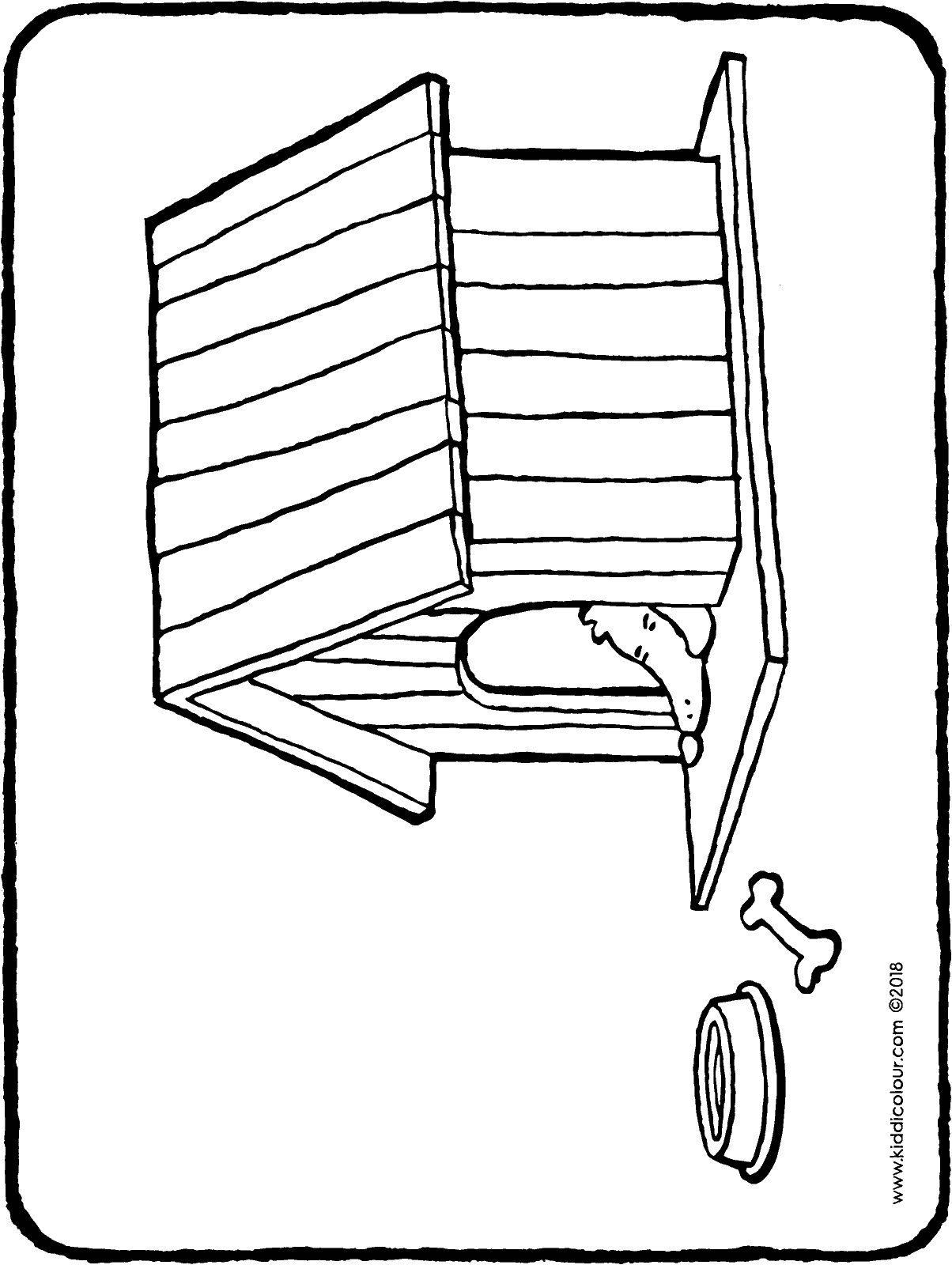 a dog in a kennel colouring page drawing picture 01H