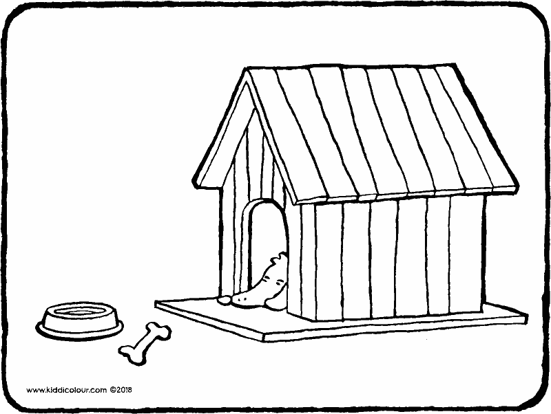 a dog in a kennel colouring page drawing picture 01k