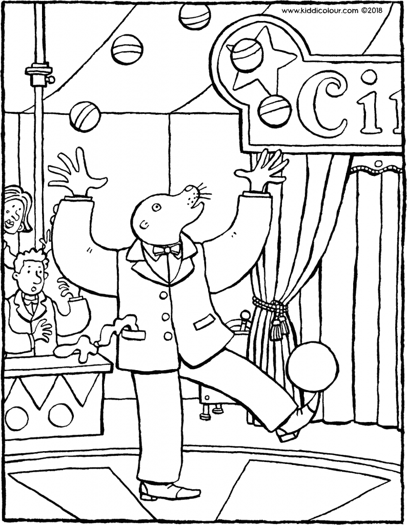 a juggler in the circus colouring page drawing picture 01V