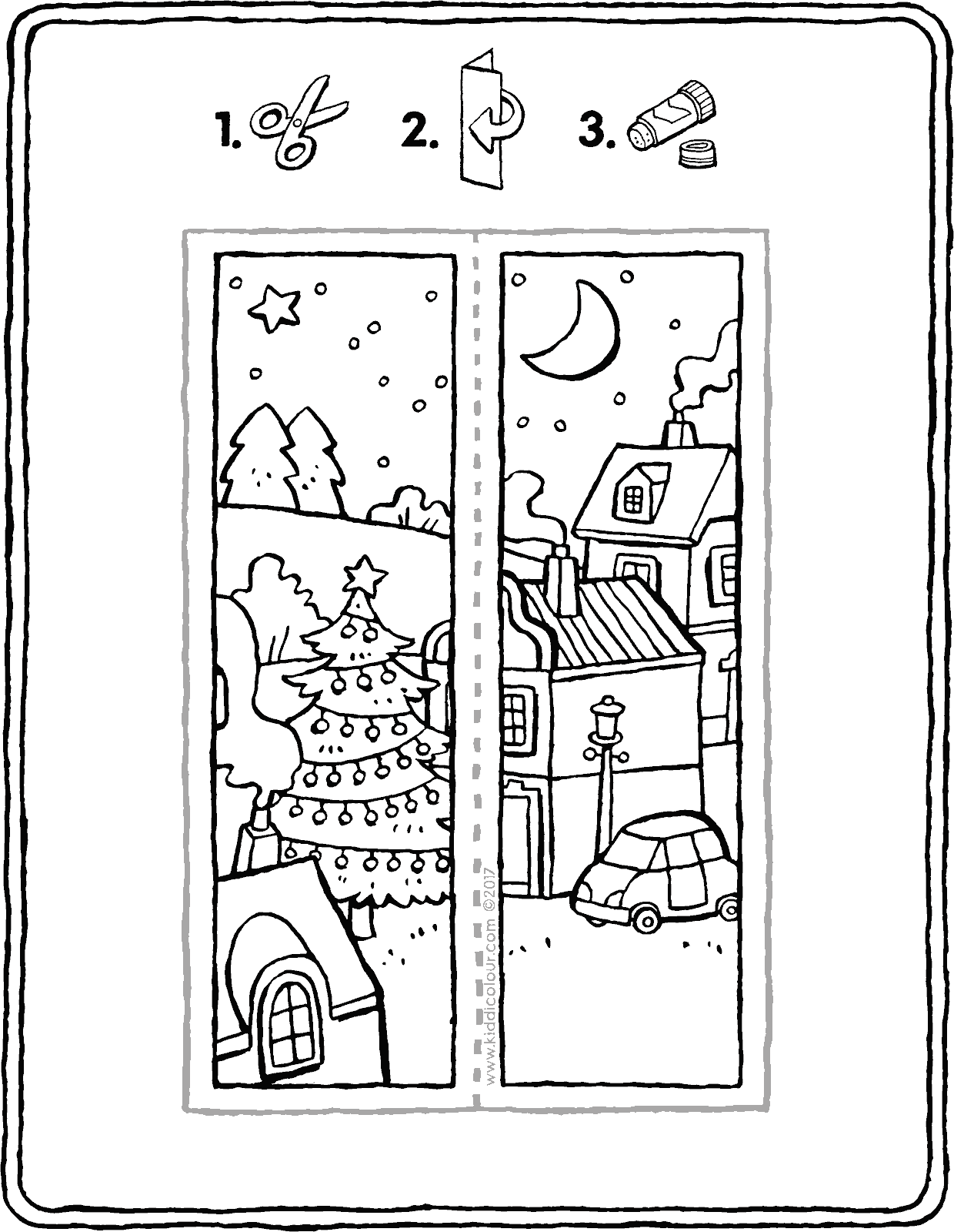 crafts Christmas bookmark colouring page drawing picture 01V