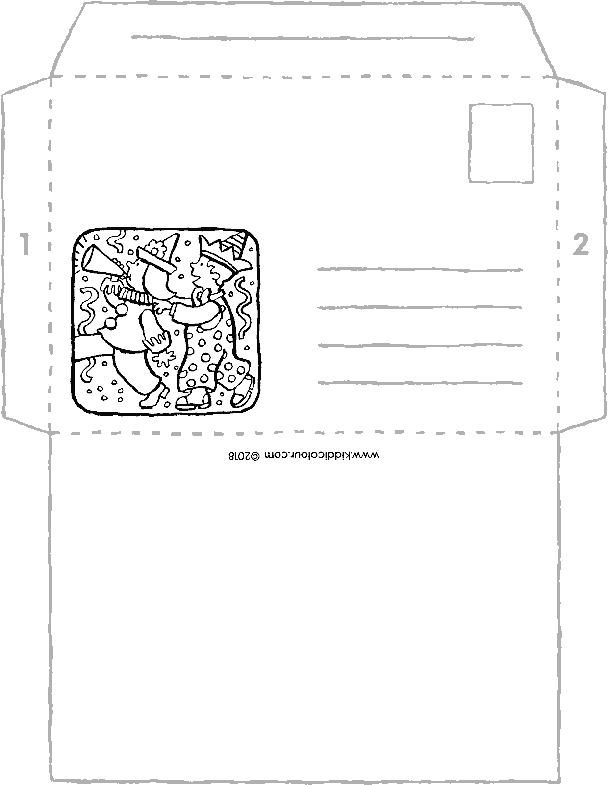 crafts carnival envelope colouring page drawing picture 01V