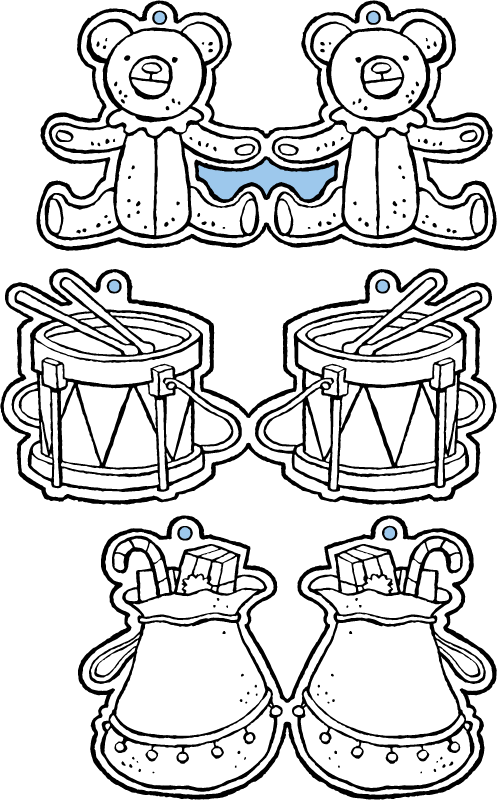 crafts decorations to put in the Christmas tree colouring page drawing picture 01k