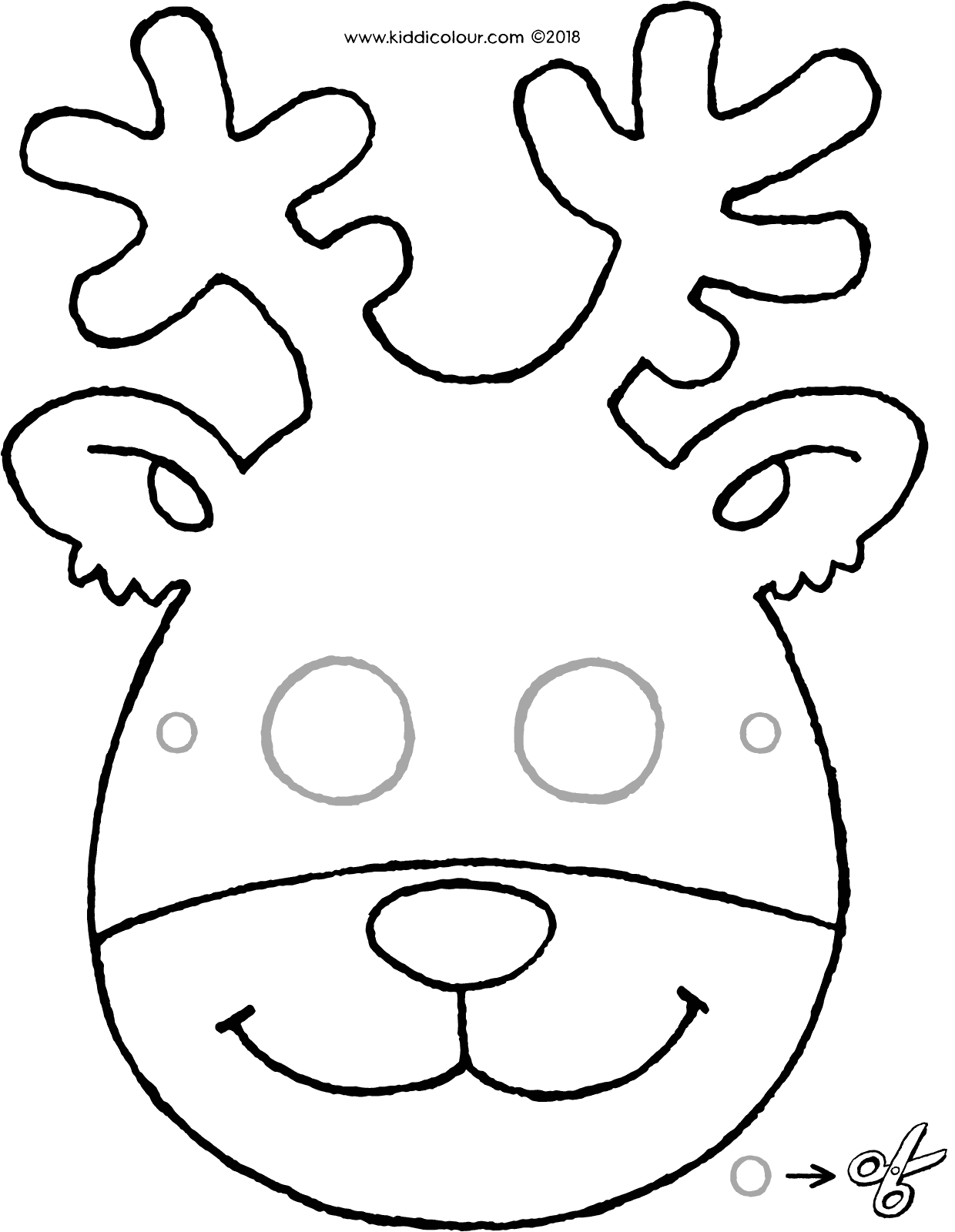 crafts deer mask colouring page drawing picture 01V
