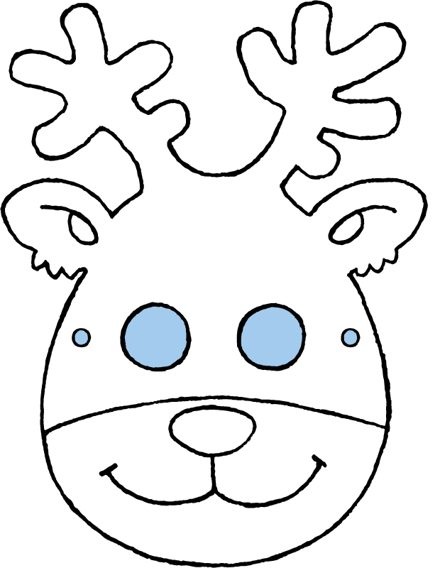 crafts deer mask colouring page drawing picture 01k