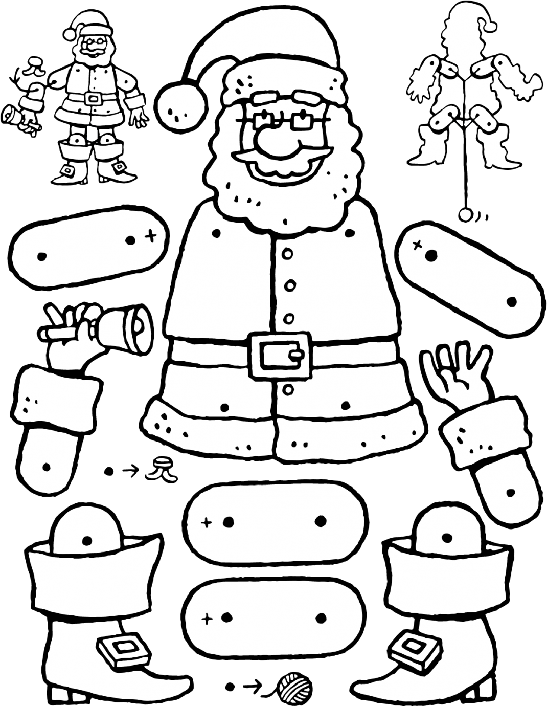 crafts dolls Father Christmas jumping jack doll colouring page drawing picture 01V