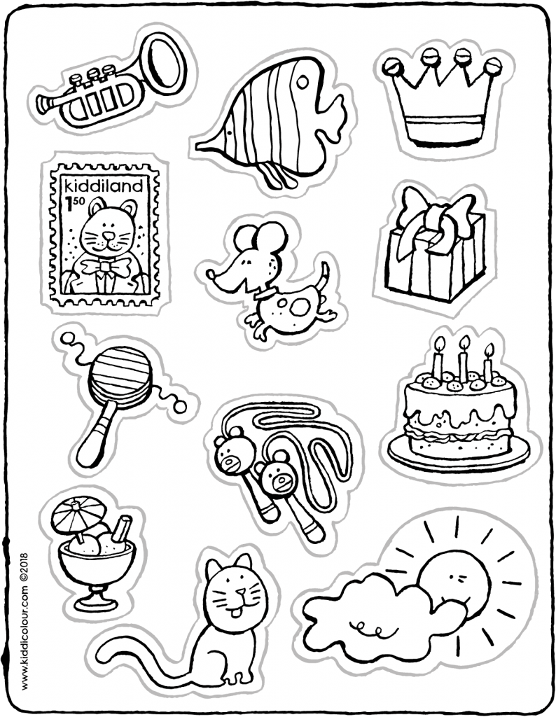 crafts stickers colouring page drawing picture 01V