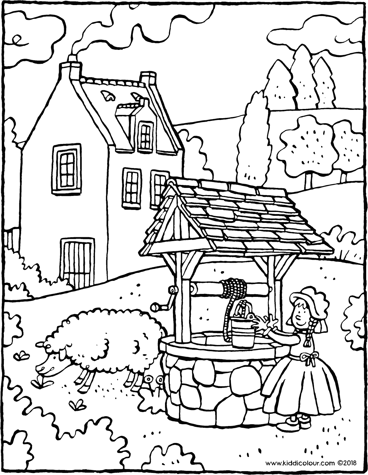 fetching water from the well colouring page drawing picture 01V