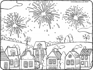 fireworks above the houses.