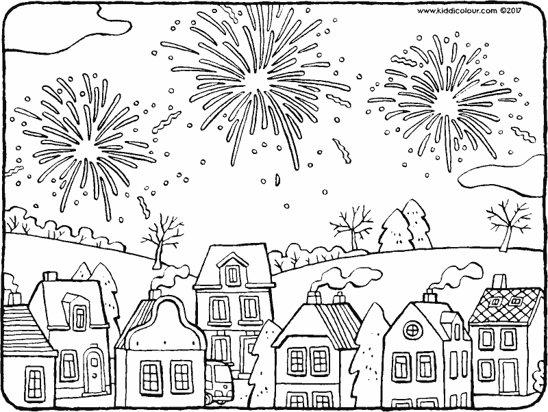 fireworks above the houses colouring page drawing picture 01k