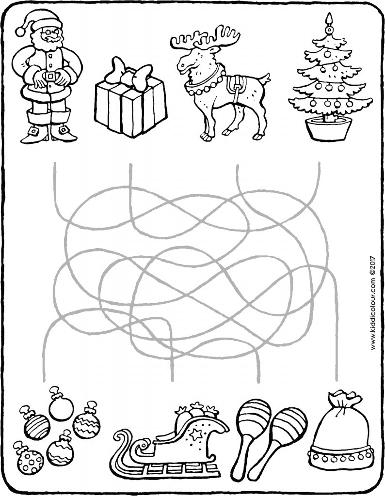 games observation find the right way for Father Christmas colouring page drawing picture 01V