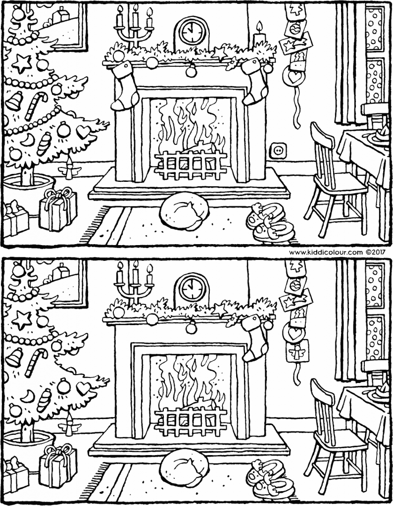 games observation spot the five differences for Christmas colouring page drawing picture 01V