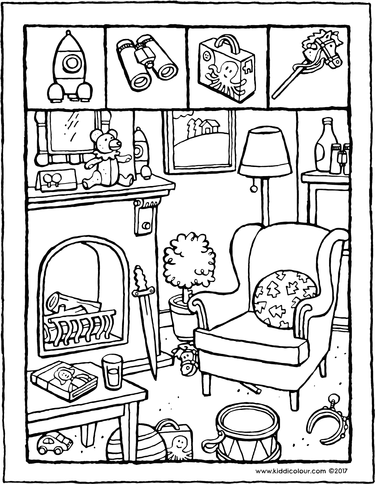 games observation spot the toys colouring page drawing picture 01V