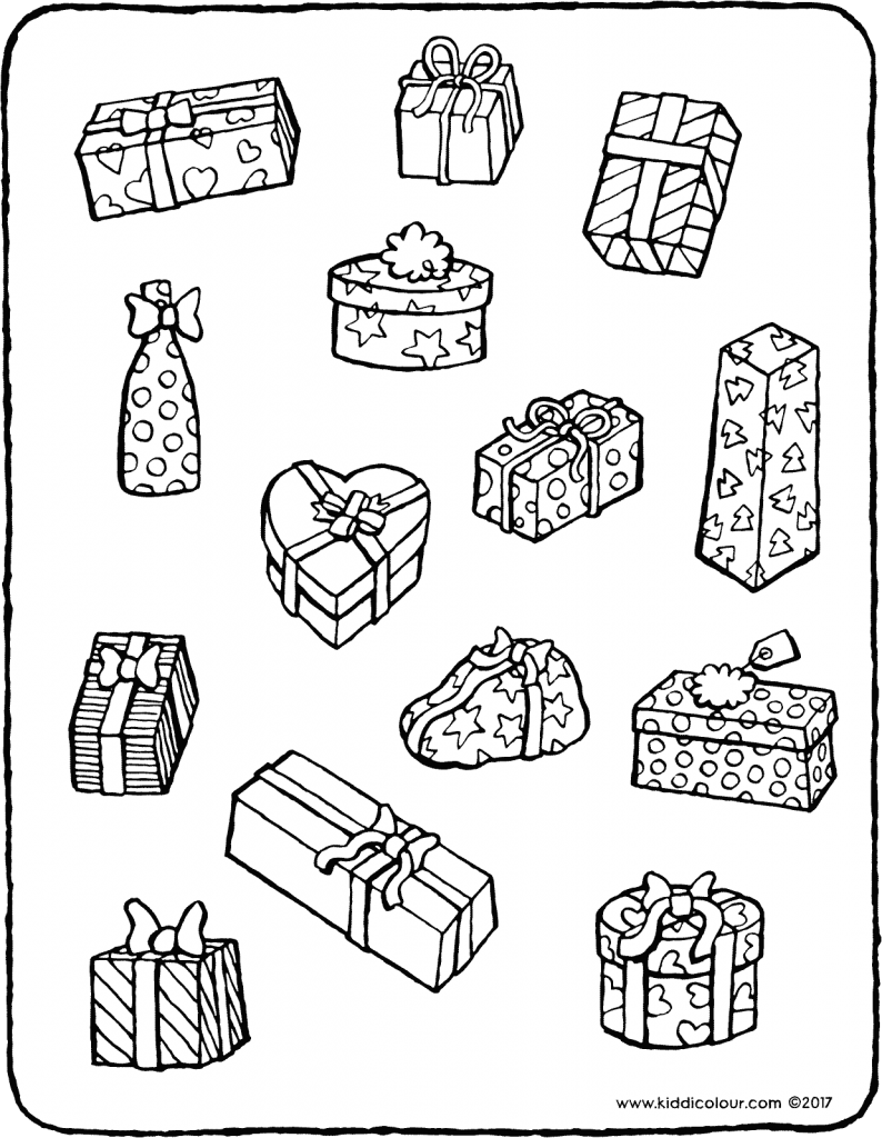 math games loads of presents colouring page drawing picture 01V