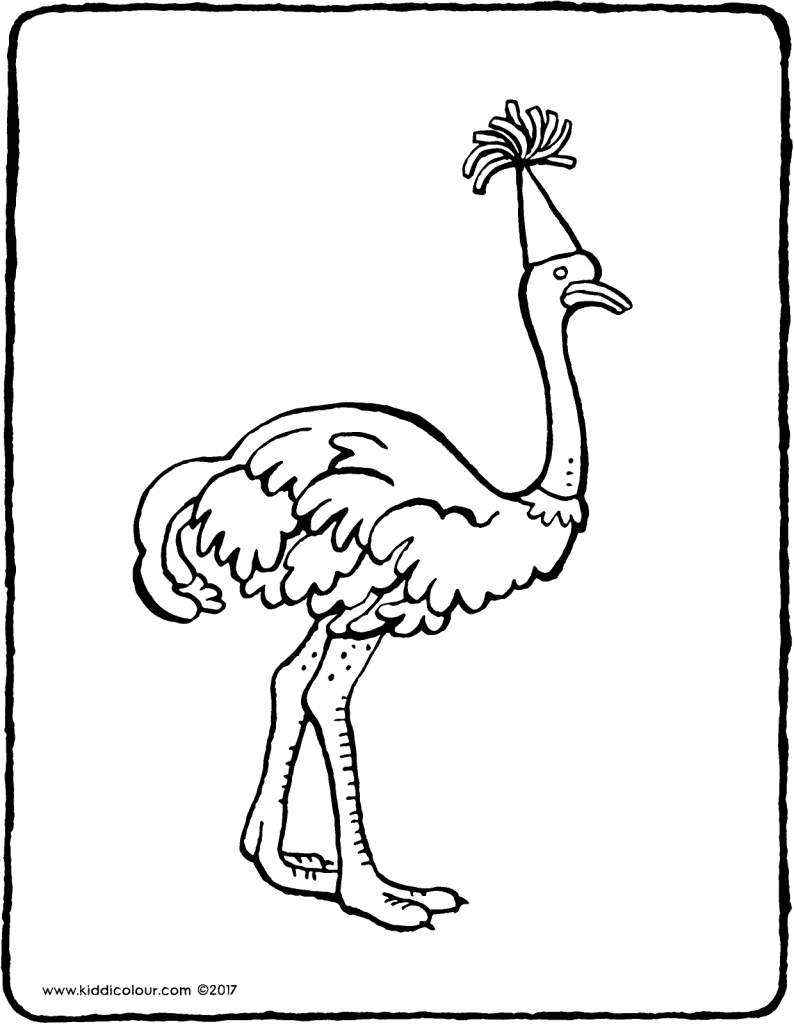 ostrich colouring page drawing picture 01V