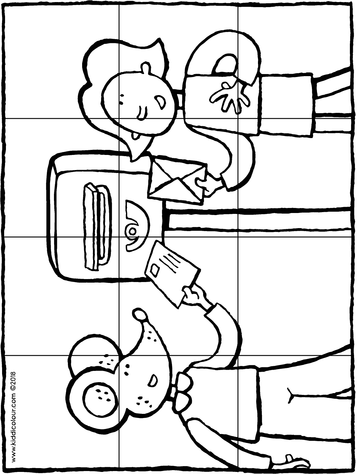 puzzle 12 pieces Emma and Thomas at the postbox colouring page drawing picture 01H