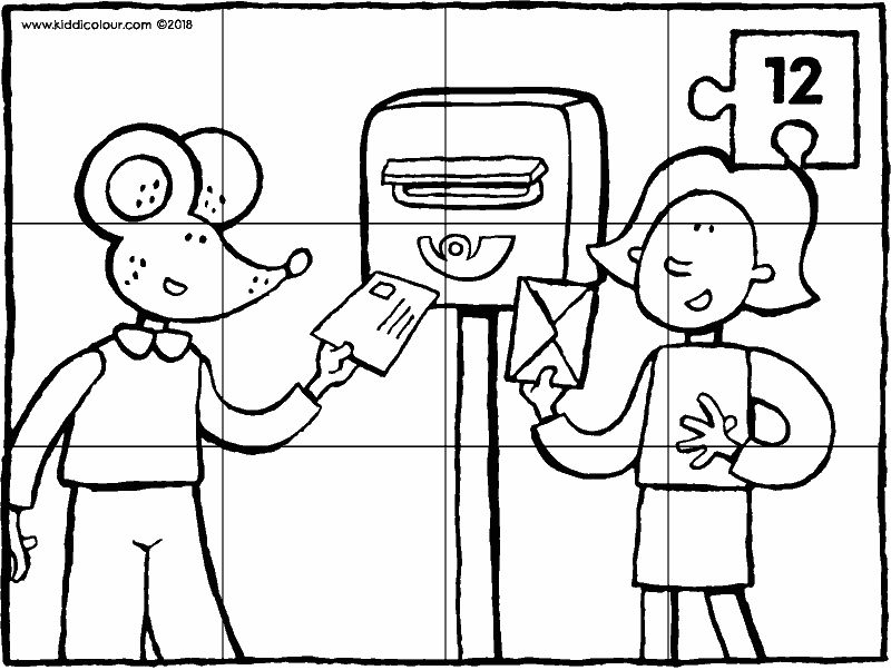 puzzle 12 pieces Emma and Thomas at the postbox colouring page drawing picture 01k