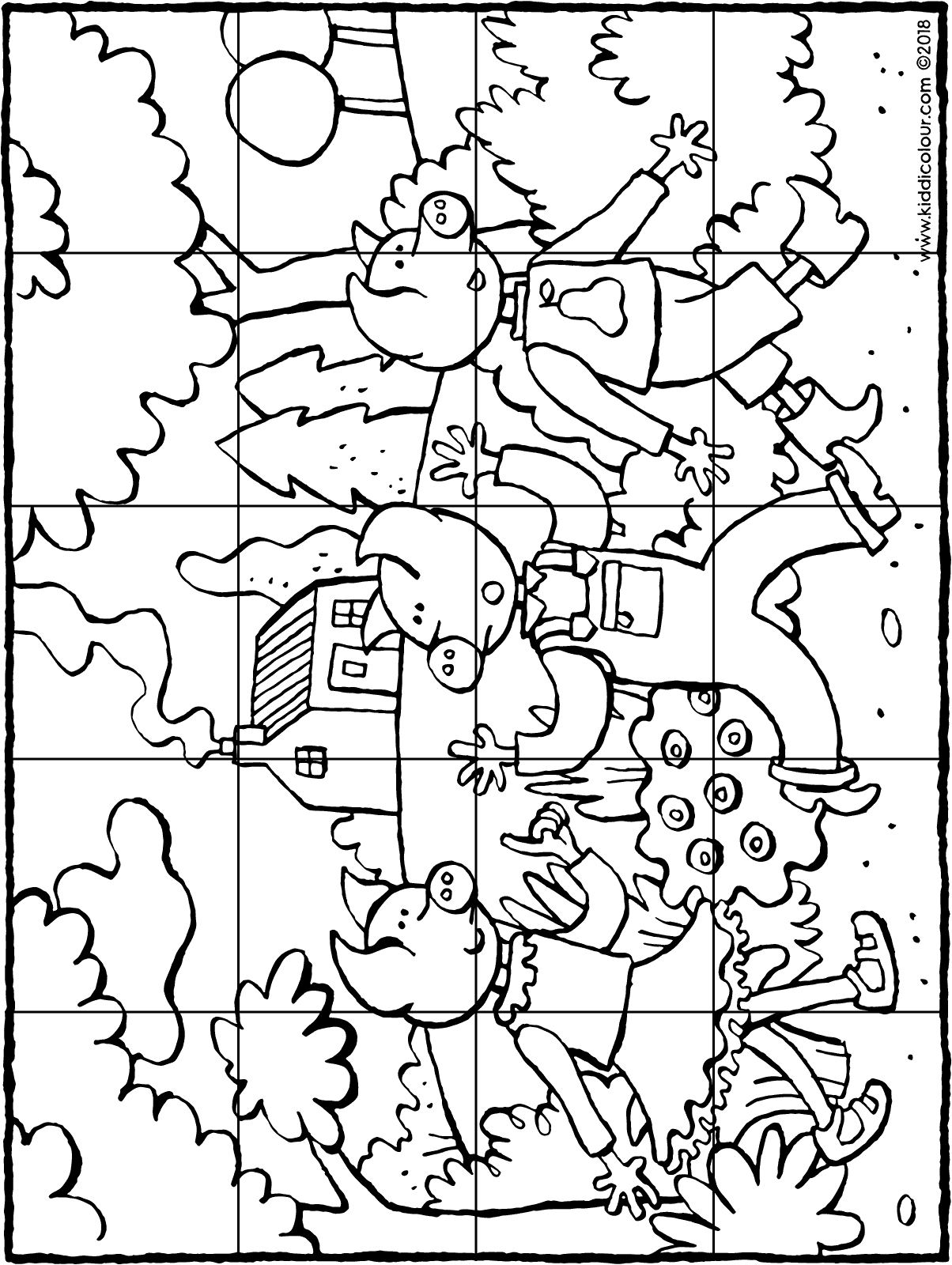 puzzle 20 pieces three little pigs colouring page drawing picture 01H