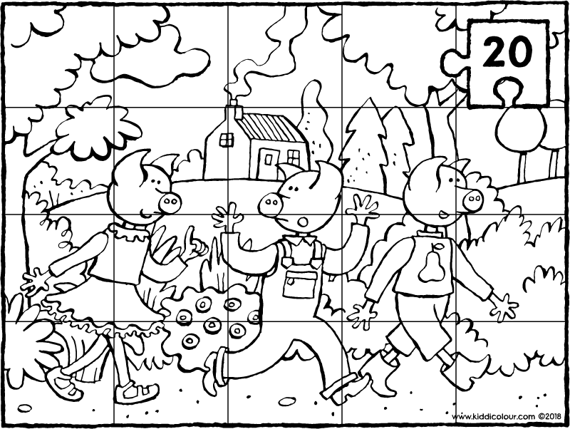 puzzle 20 pieces three little pigs colouring page drawing picture 01k
