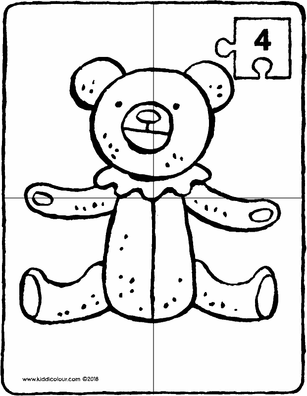 puzzle 4 pieces make a teddy bear colouring page drawing picture 01k