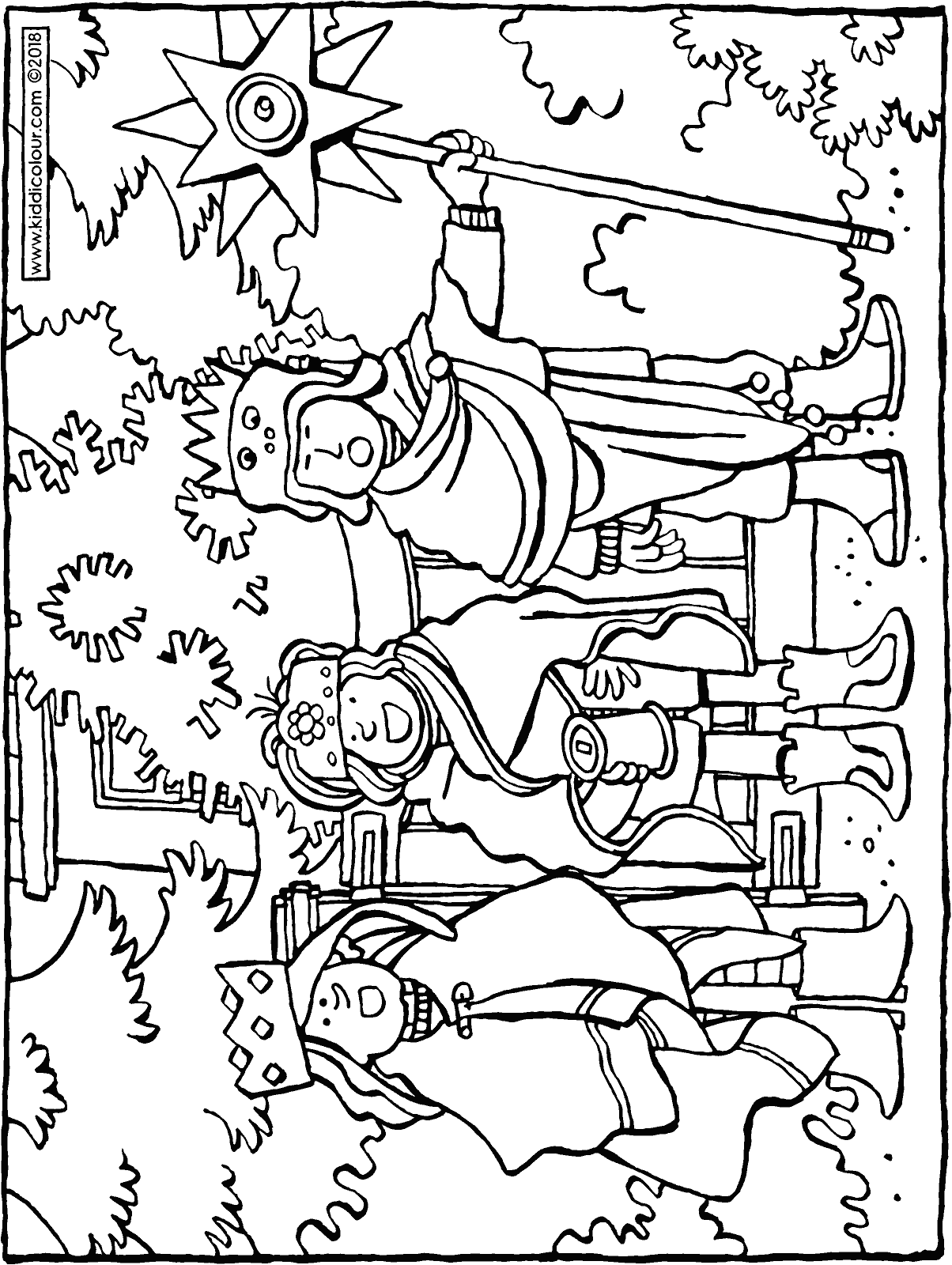 singing we three kings colouring page drawing picture 01H