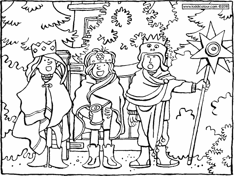singing we three kings colouring page drawing picture 01k - Drawing And Colouring Pictures