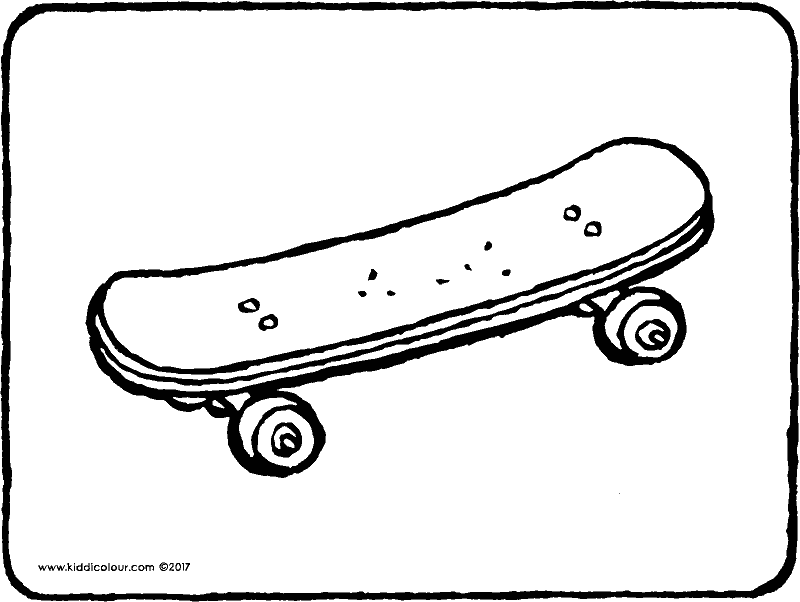 skateboard colouring page drawing picture 01k