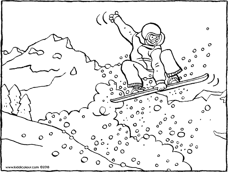 snowboarding colouring page drawing picture 01k