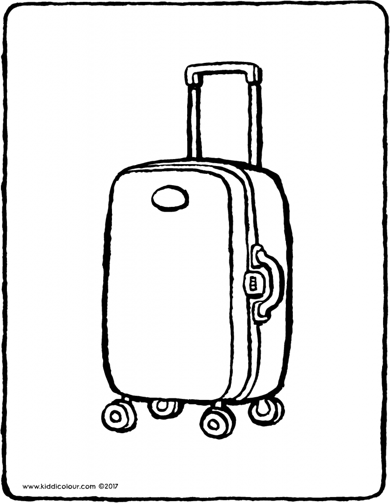 suitcase colouring page drawing picture 01V