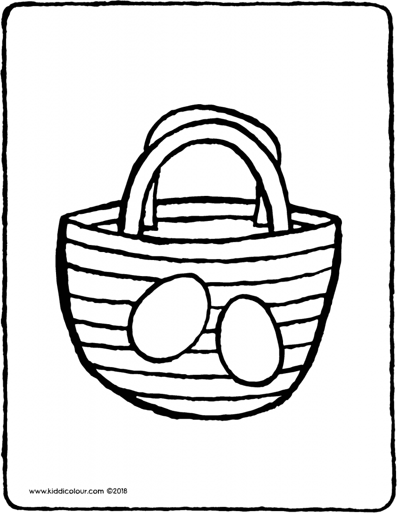 Easter basket colouring page drawing picture 01V