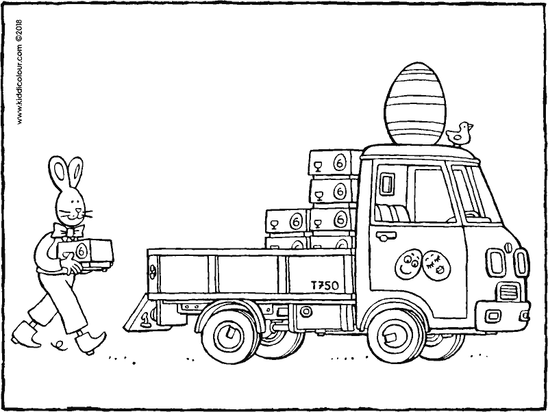 Easter bunny delivering Easter eggs colouring page drawing picture 01k