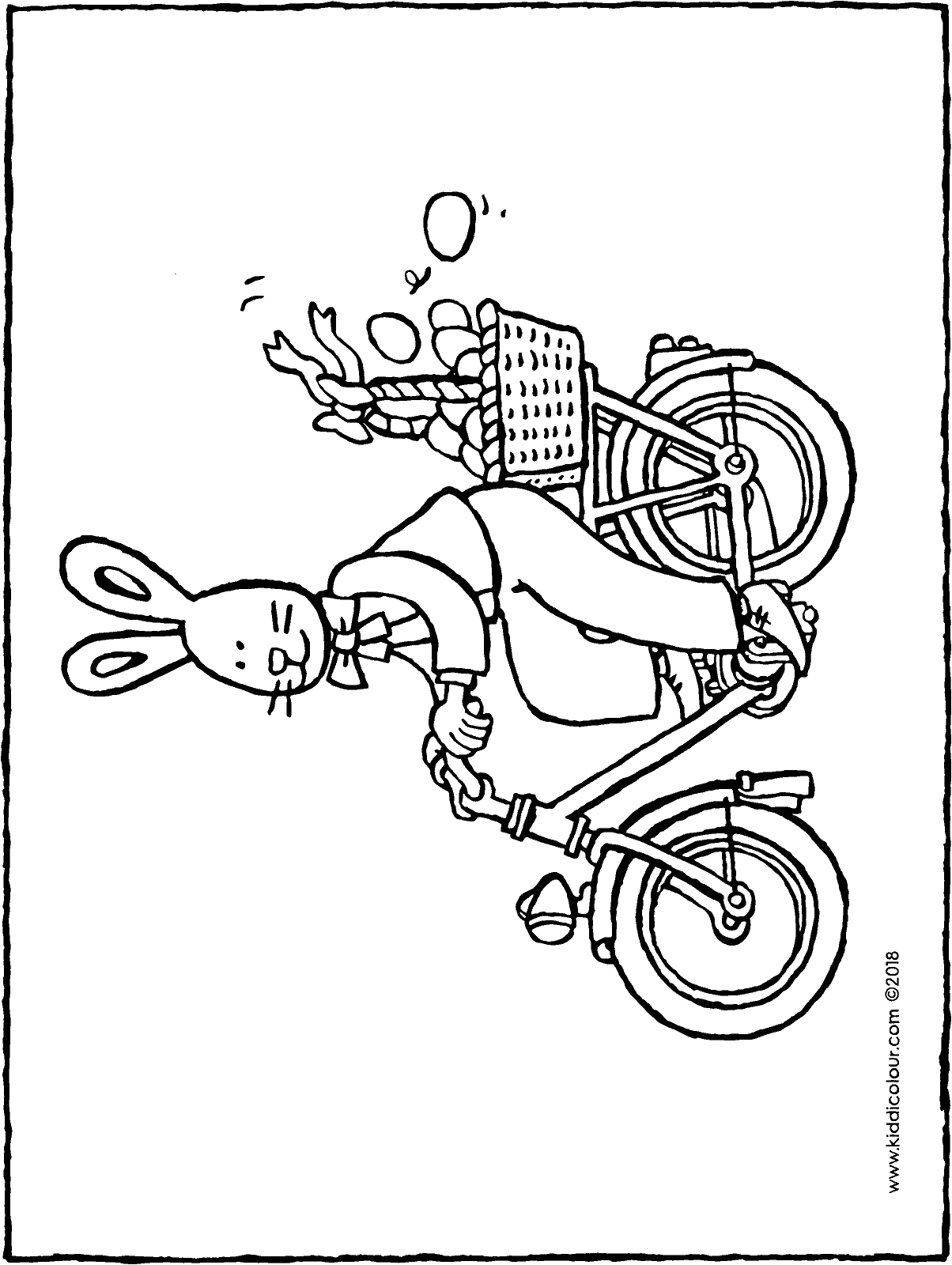 Easter bunny on a bicycle colouring page drawing picture 01H