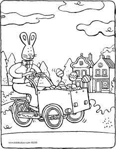 Easter bunny on a delivery bike piled high with eggs