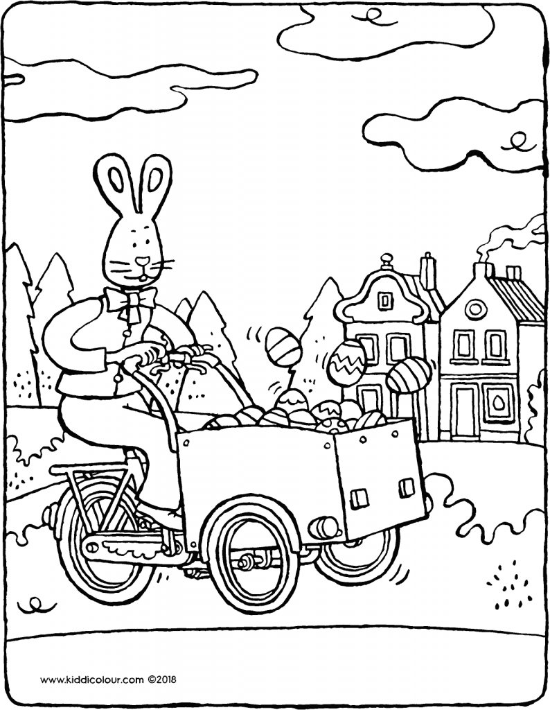Easter bunny on a delivery bike piled high with eggs colouring page drawing picture 01V