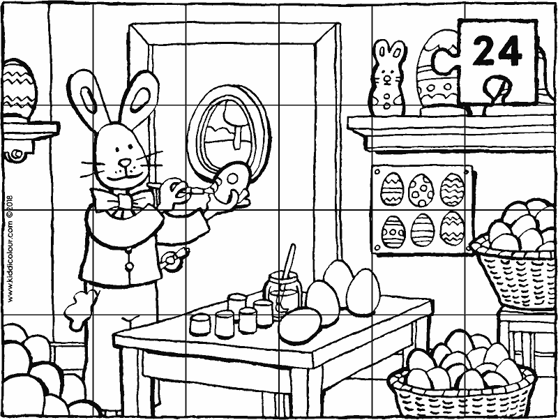 Easter bunny puzzle colouring page drawing picture 01k