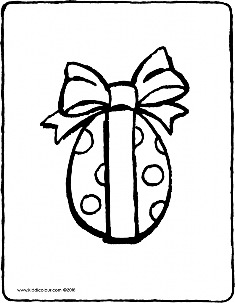 Easter egg with ribbon colouring page drawing picture 01V