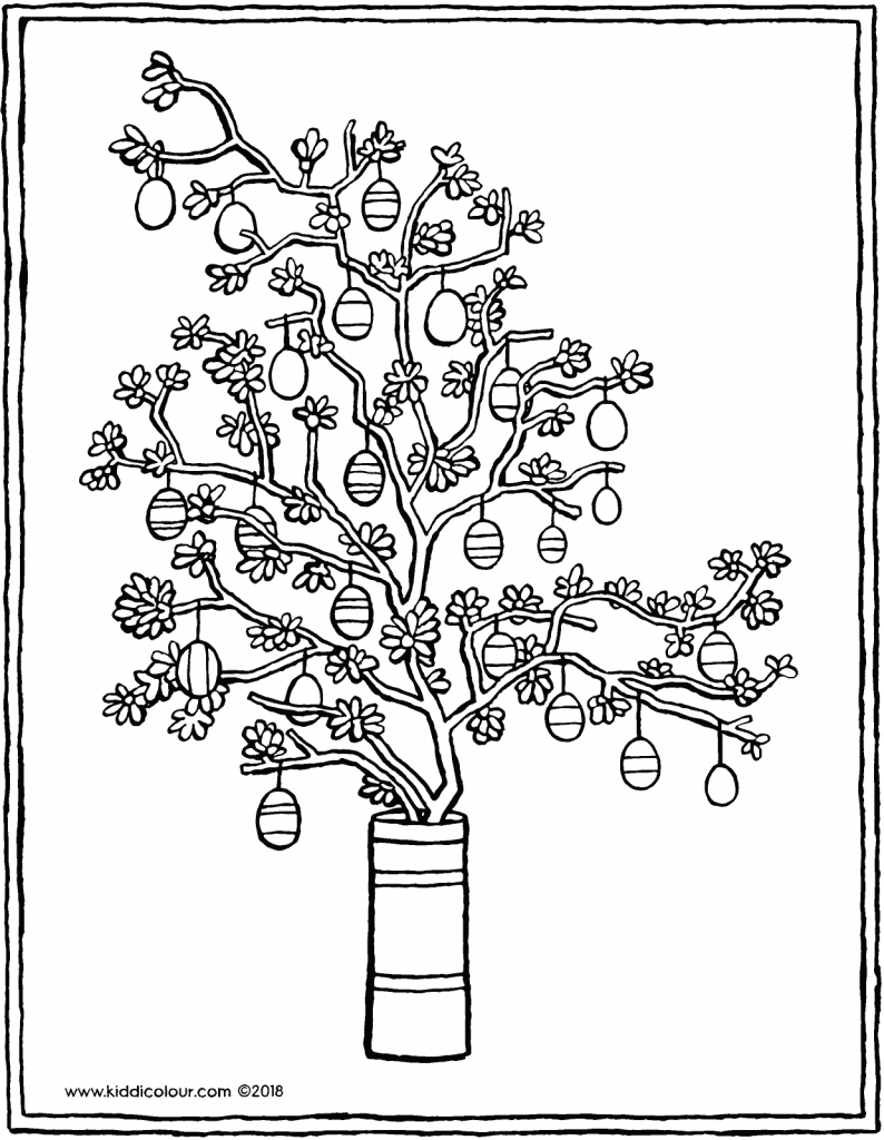 Easter tree colouring page drawing picture 01V