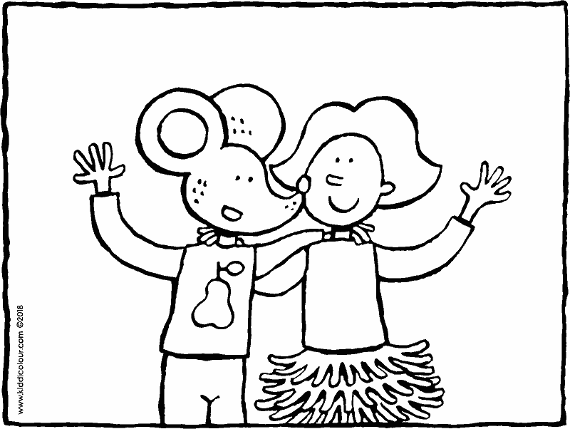 Emma and Thomas are best friends colouring page drawing picture 01k