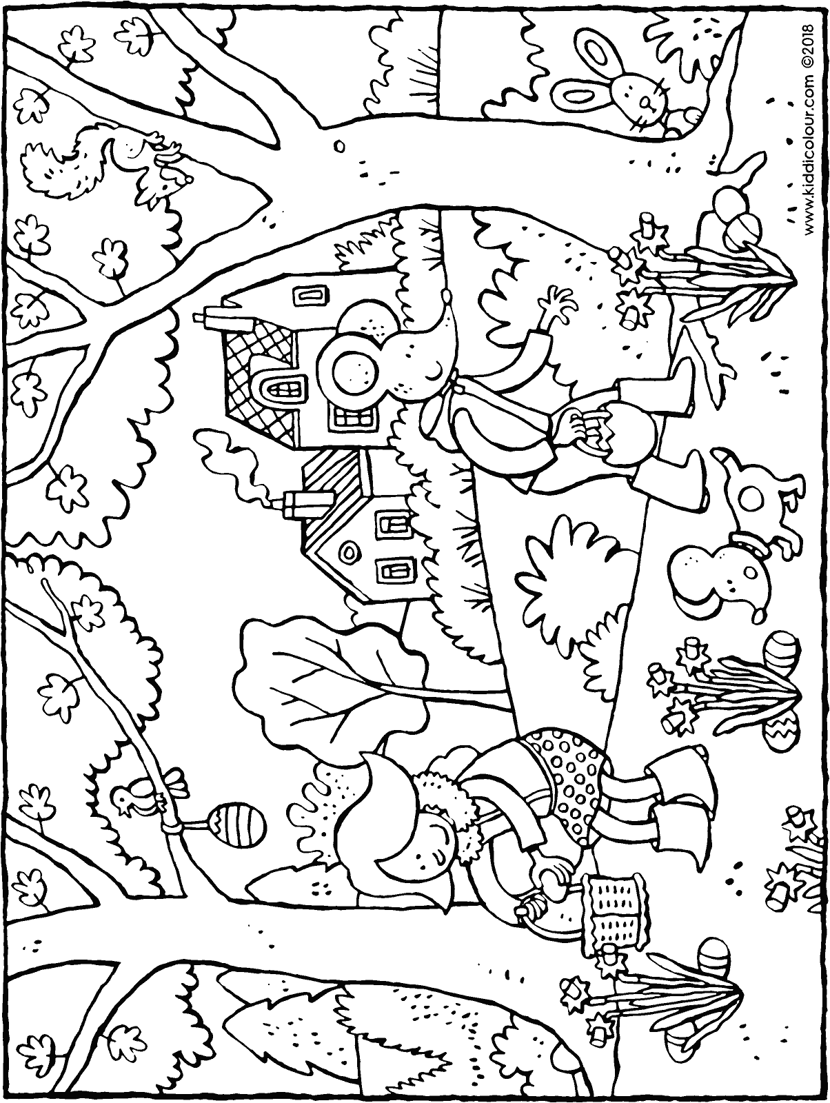 Emma and Thomas collecting Easter eggs colouring page drawing picture 01H