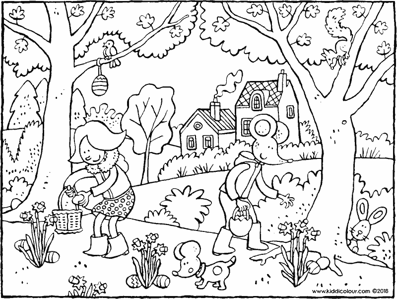 Emma and Thomas collecting Easter eggs colouring page drawing picture 01K