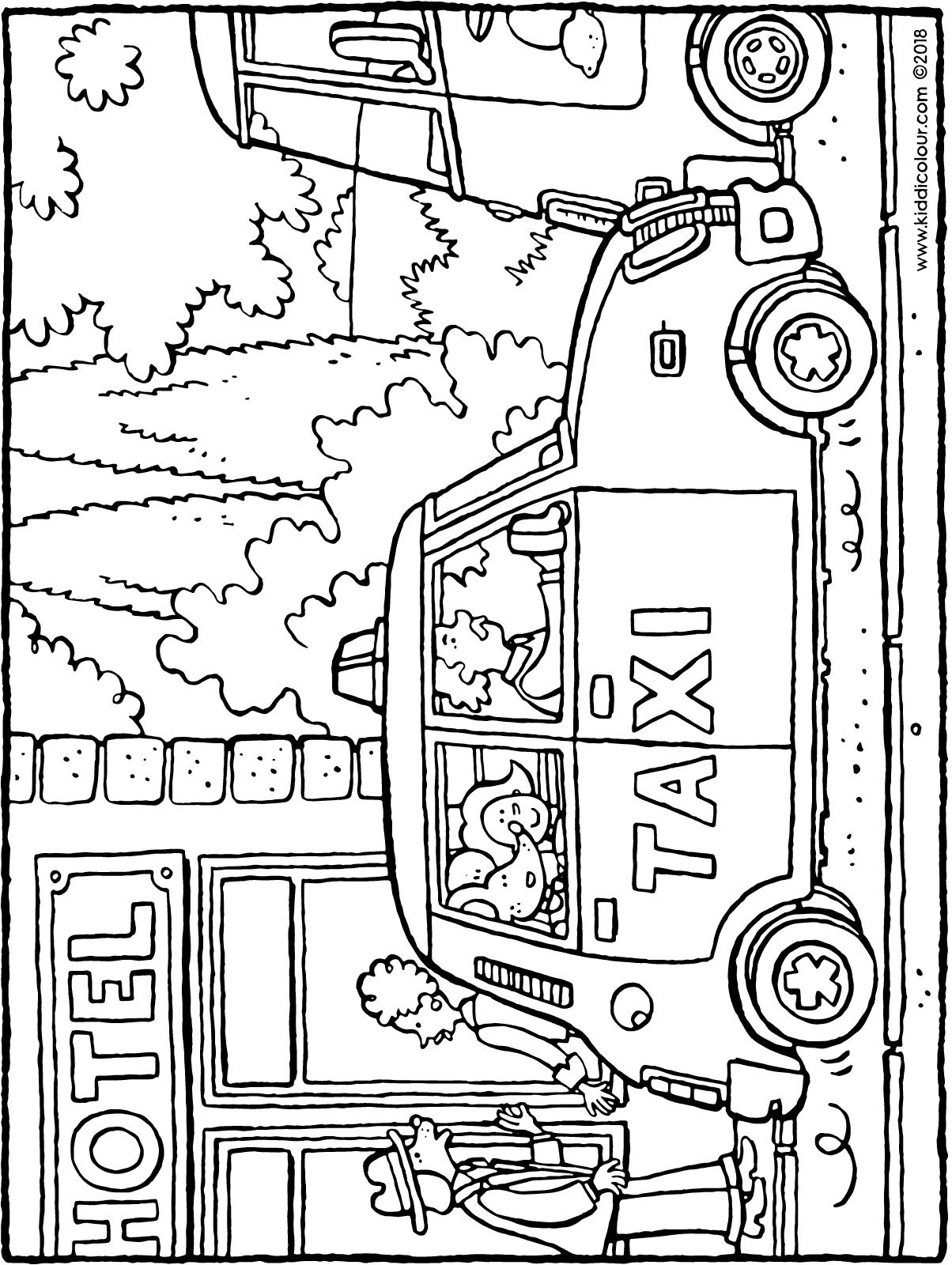 Emma and Thomas in a taxi colouring page drawing picture 01H