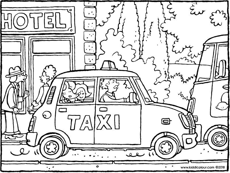 Emma and Thomas in a taxi colouring page drawing picture 01k