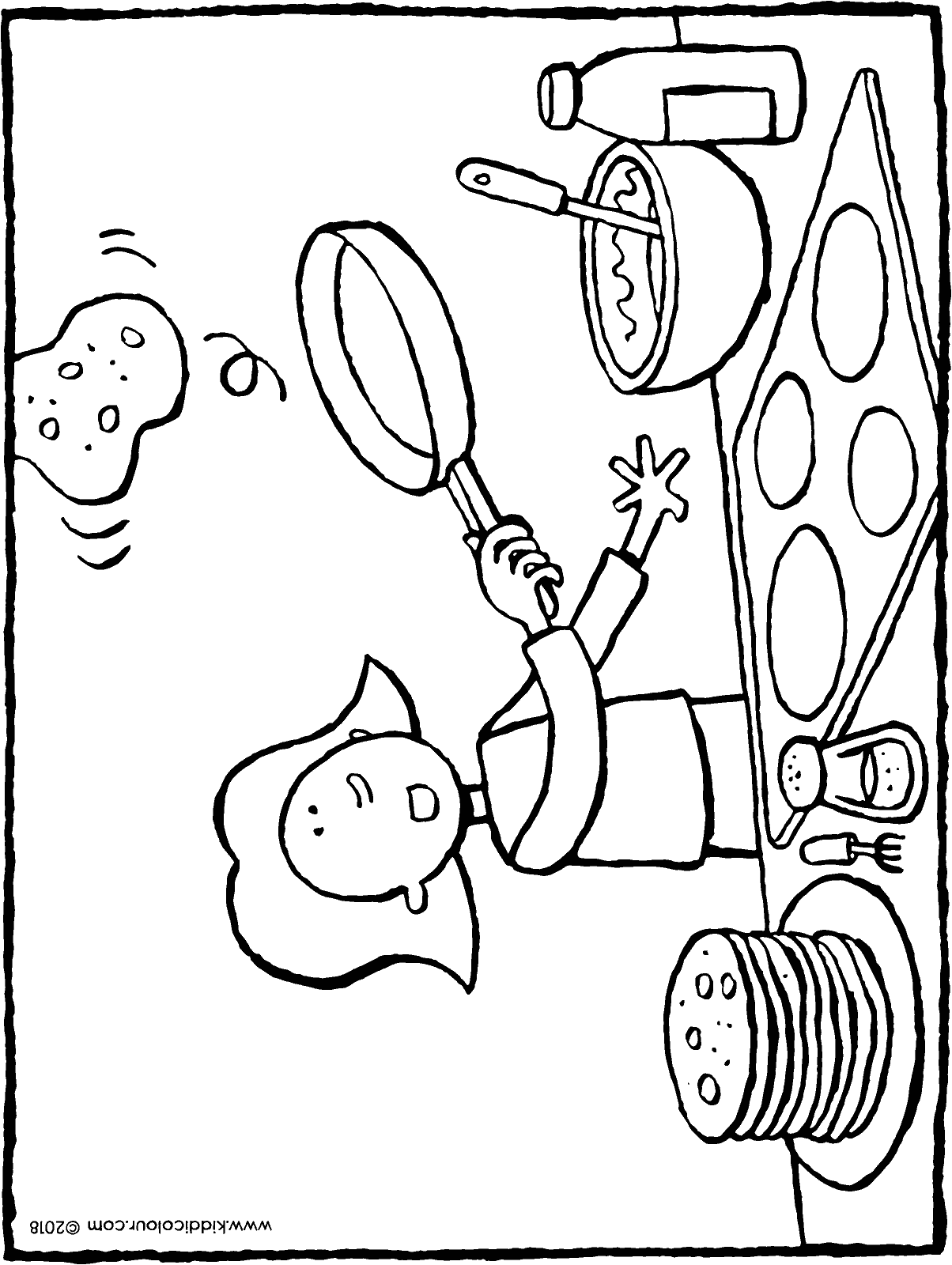 Emma baking pancakes colouring page drawing picture 01H